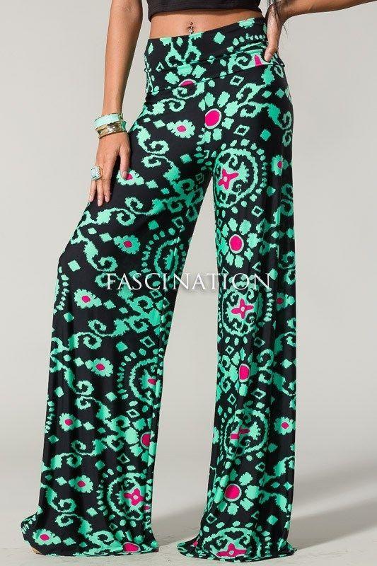 Sexy Fold Over Waist Wide Leg Tall Yoga Palazzo Mint Black Paisley Pants S M
