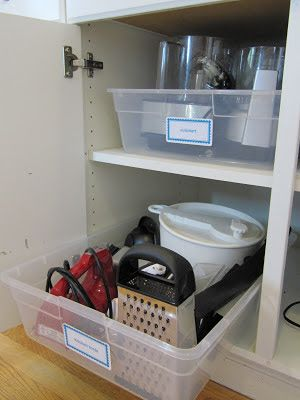 Place your kitchen items inside a plastic tub before storing them in your cupboards. No more digging for stuff in the back. (This would also work great in the bathroom or garage.)