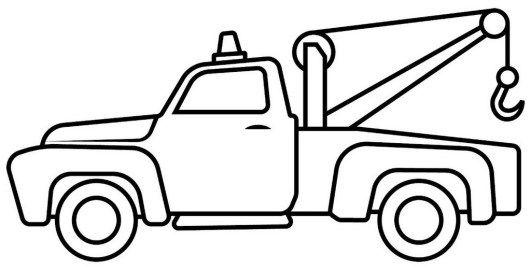 tow truck cartoon drawing lineart