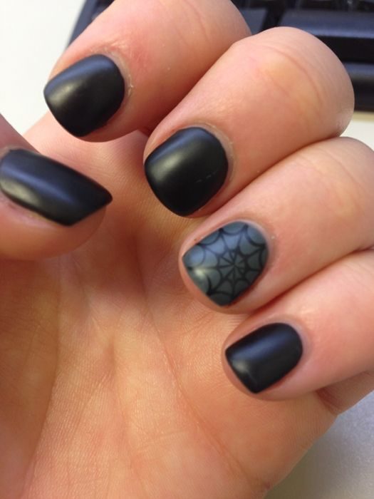 Matte Black with spider web accent
