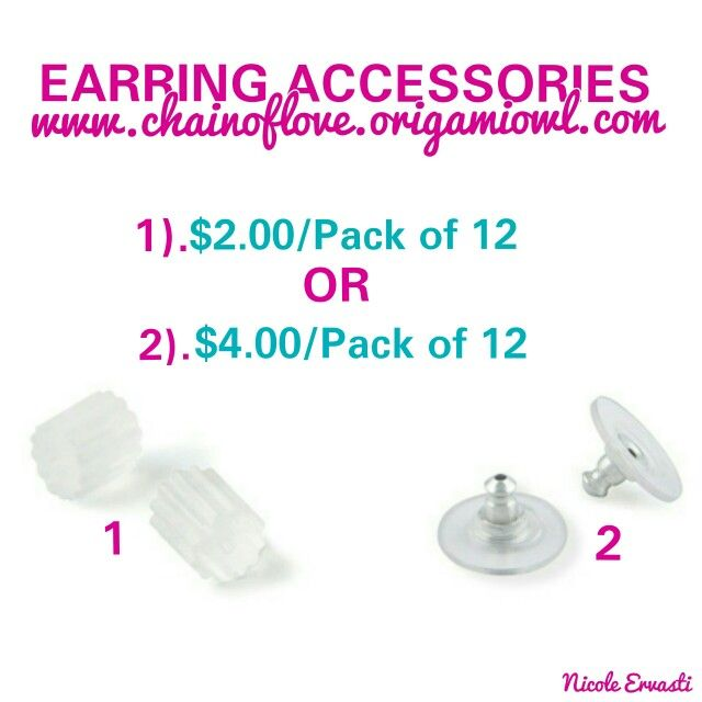 Did You Know We Have Rubber Or Supportive Earring Backs Can Get A Pack Of 12 For As Low Only 2 Them Here Chainoflove Origamiowl Hint