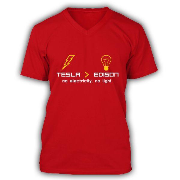 NIKOLA TESLA vs THOMAS EDISON premium Red V-Neck T-Shirt for men