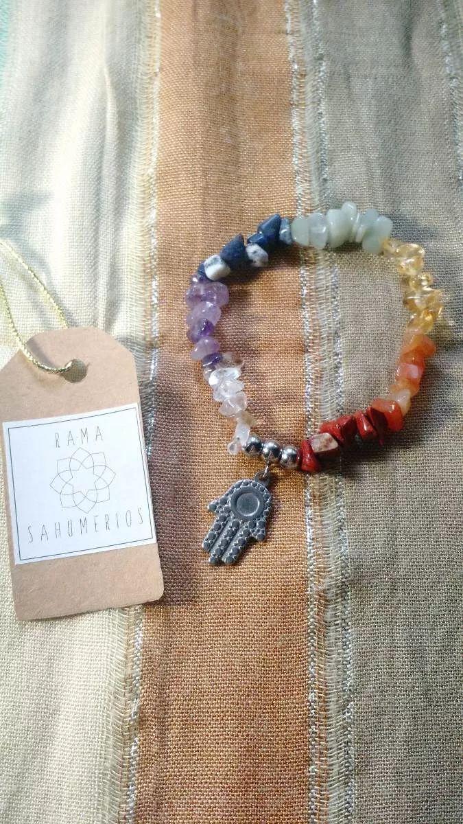 pulsera de los 7 chakras en piedras naturales y acero