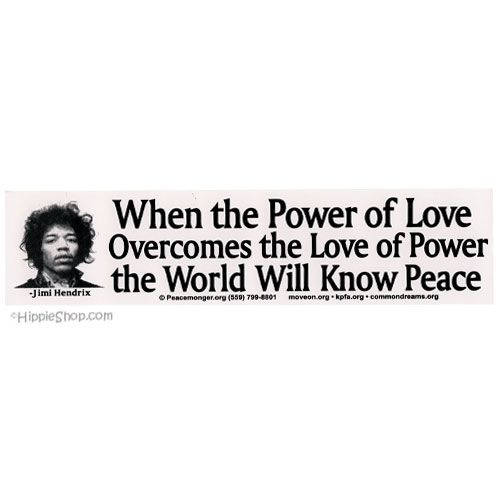 Jimi Hendrix - Power of Love Bumper Sticker on Sale for $2.99 at The Hippie Shop