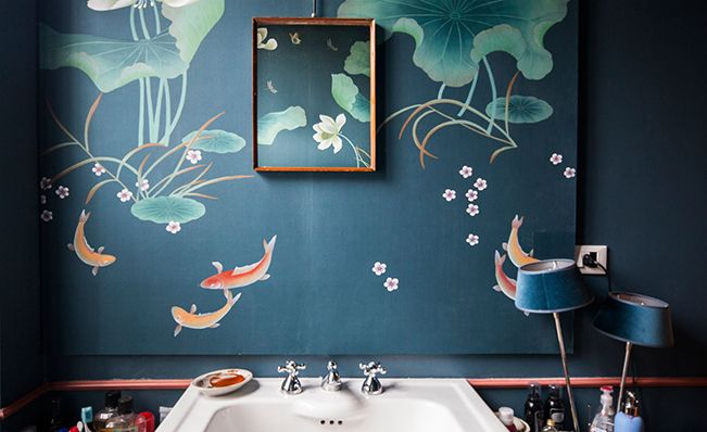 Modern chinoiserie 'POND' design from Misha wallpaper, hand painted on Blue Petroleum dyed silk.