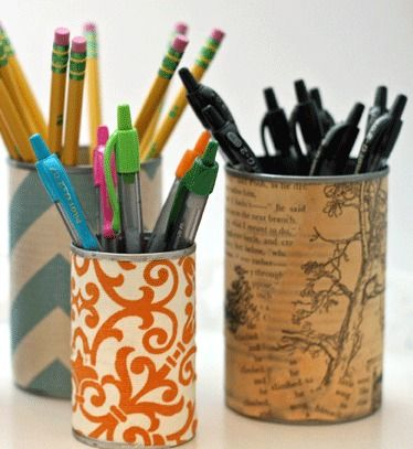 Upcycled DIY pencil holders using jute, fabric scraps, old books, homemade mod podge. Cute, cheap, easy! Perfect for book art fans.