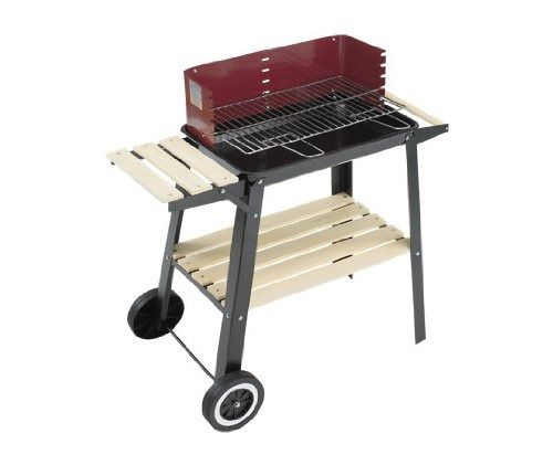 Portable Charcoal Wagon Barbecue Cooking Grill Base Shelves Adjust Height Patio #LandmannLtd