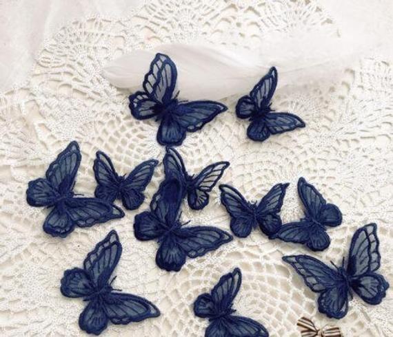 Navy Blue 3d Beaded Pearl Floral Lace Appliques Delicate Etsy Lace Applique Wedding Trim Veil Accessories