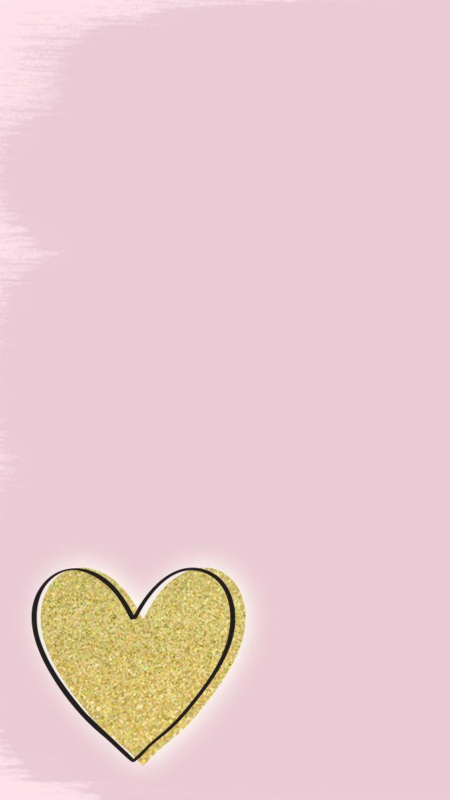 Free Gold Glitter Heart iPhone Wallpaper