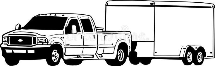 Dually Pickup Truck And Enclosed Trailer Illustration Dually Ford Pickup Truck Sponsored Affiliate Paid Truck Coloring Pages Dually Trucks Pickup Trucks