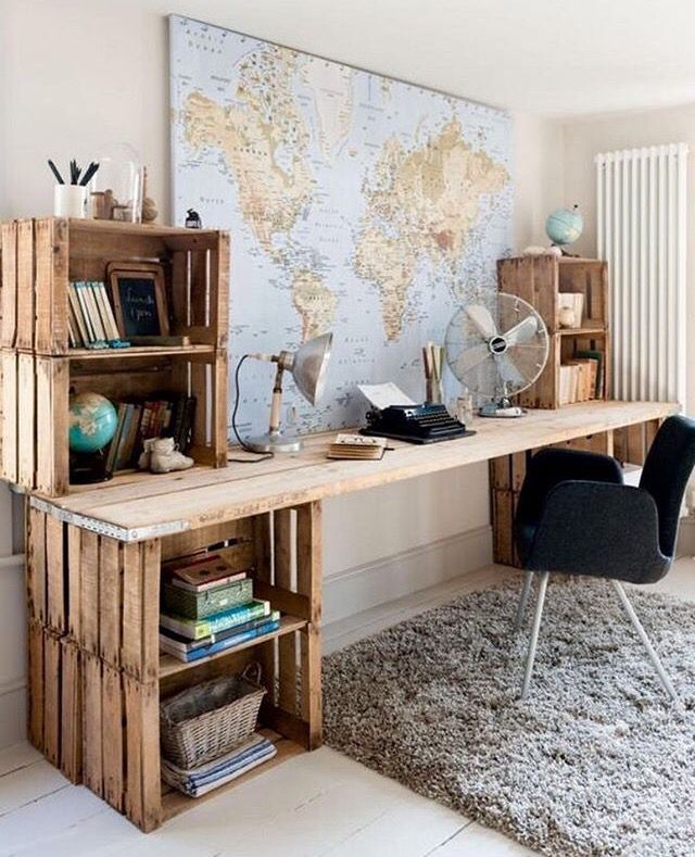 Desk and maps