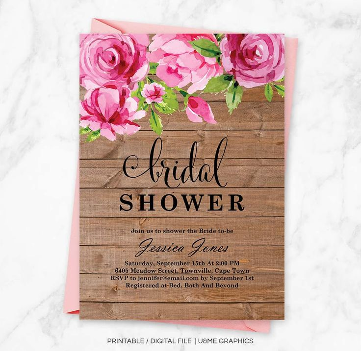 Pink Floral Bridal Shower Invite, Pink Peonies, Pink Peony Invitation, Wood Background, Bridal Shower Invitation, Rustic Invitation, Digital