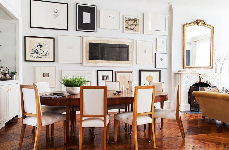 Alison swapped a piece of art for her best friend's dining table, which perfectly complements her 1940s dining chairs.
