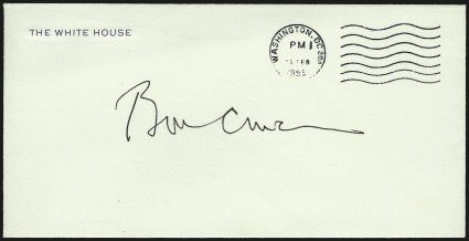 William Jefferson Clinton.> Signature <ill Clinton>> on <White House stationery,> Washington D.C.  Feb. 1998 postmark<><>^VERY FINE. A RARE BILL CLINTON SIGNATURE ON A WHITE HOUSE STATIONERY COVER.^<><>The envelope is not addressed and was