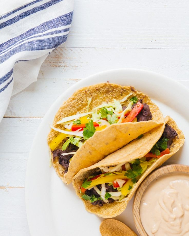 Refried Bean Tacos with Chipotle Cashew Cream   A Couple Cooks