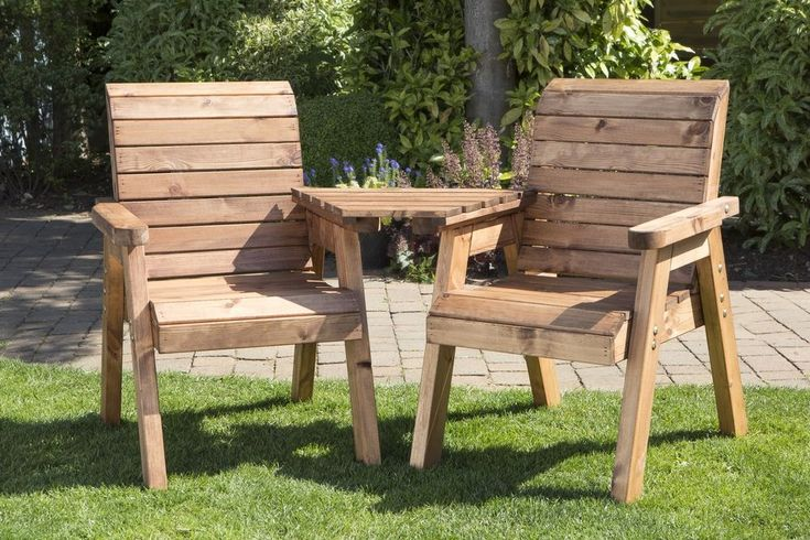 Heavy Duty Wooden Garden Love Seat Bench WIth Table, UK Made Fully Assembled #UKGardens