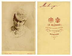 An 1882 CdV of soprano Mathilde Mallinger by Joseph Albert of Munich.  She was born on 17th Feb 1847 in Zagreb, Habsburg Monarchy and Austria-Hungary and died on 19th April 1920 in Berlin, Germany.  She made her debut at the Munich Hofoper in 1866 in the title role in Bellini's opera Norma.  On 21st June 1868 she created the role of 'Eva' in the world première of Wagner's opera Die Meistersinger von Nürnberg under the baton of Hans von Bülow.  She had a wide range of roles and notably sang…