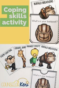 What's in your back pack? This coping skills classroom guidance lesson is perfect for early elementary or primary school counseling! Practice deep breathing, journaling, identifying supports, and using positive affirmations/positive self talk! The is perf