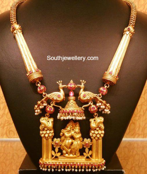 Antique Gold Necklace with Lord Krishna Pendant photo