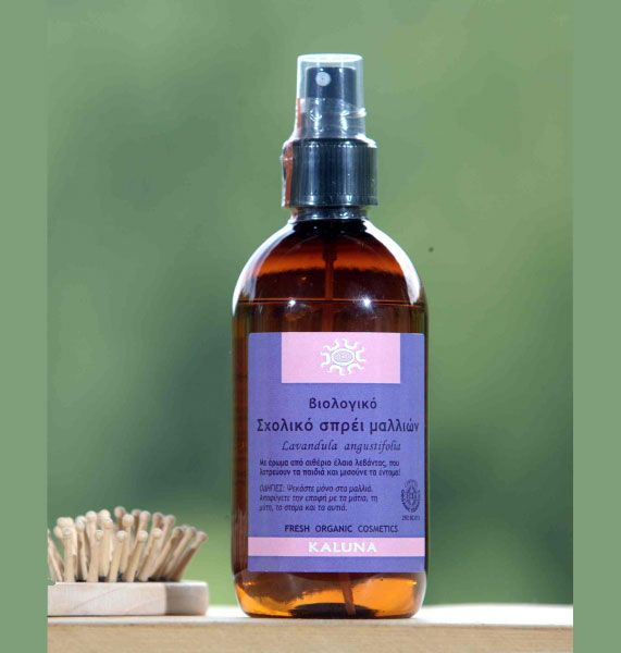 This spray contains pure lavender (Lavandula angustifolia) hydrosol.  The plants used are cultivated in the organic farm where our laboratory is based.  Distillation is carried out under the mildest possible conditions.  Organic Lavender essential oil is added to the final product, giving it a wonderful perfume, at the same time enhancing hair hygiene.  Use only on hair, avoiding nose, eyes, mouth and ears.  Content: 200 ml