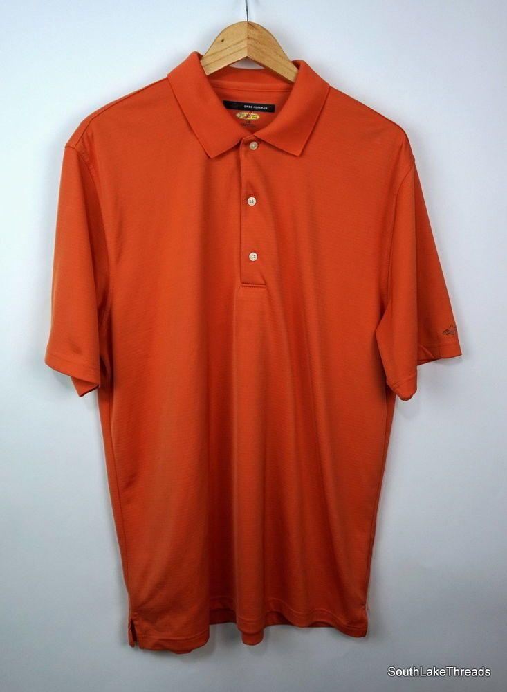 34aa729a Greg Norman The Shark Shirt Golf Polo Orange Play Dry Casual Sz Men's Large  - Shark