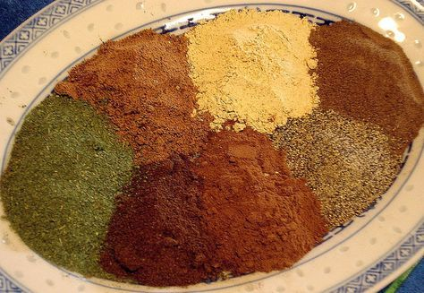 """Lebanese Seven Spices   To make a """"Lebanese Seven Spices"""" mix, add the spices shown below in powder form and in equal quantities... Top left to right: Nutmeg, Ginger, Allspice... Bottom left to right: Fenugreek, Cloves, Cinnamon, Black pepper"""