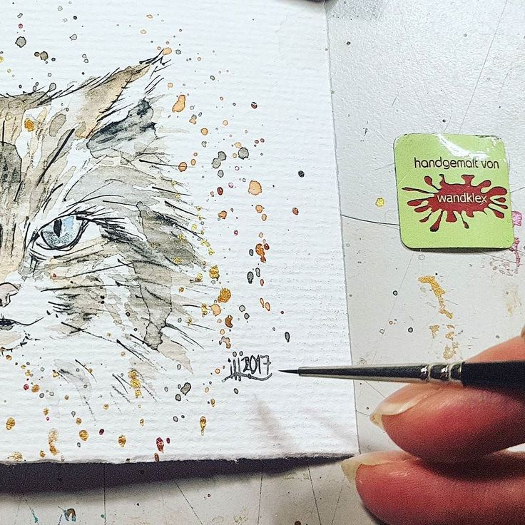 """""""at night all cats are gray""""? Nope. This blue eyed beauty appeared in my studio in the middle of this night and she obviously has a whole bunch of different colors and shades. . Painted with schmincke Horadam water color on @hahnemuehle_global Britannia 300g rauh paper painting and photo wandklex . #wandklex #malerei #workinprogress #wip #studio #workspace #handgemalt #aquarell #kunst #art #watercolor #watercolour #tier #tierportrait #petportrait #catsofig #catcontent #katze #kater #tomcat…"""