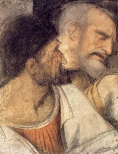 Heads of Judas and Peter - Leonardo di Vinci