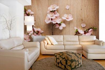 фотообои в гостиную, цветы, цветущая ветвь