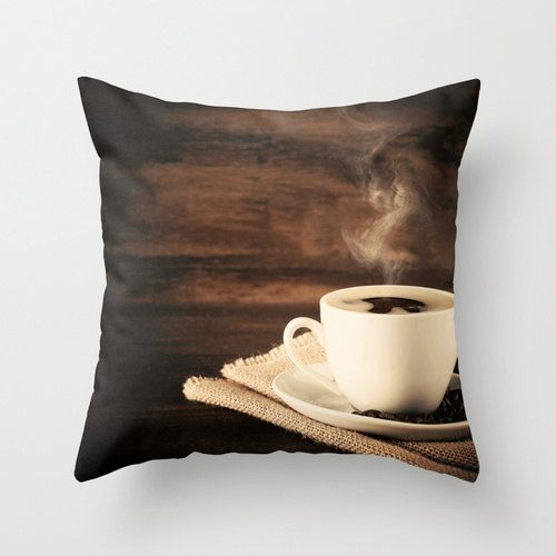 CIJ SALE, Pillow cover,brown pillow,coffee pillow,fall pillow,white pillow, vintage pillow, coffee art, food pillow,love pillow,couch pillow