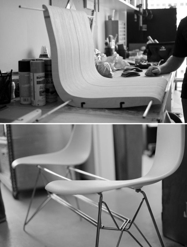 A design team from the Raleigh, North Carolina office of Clark Nexsen reimagined a classic Eames DSR chair into a seat for two.