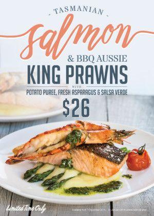 $26 TASMANIAN SALMON & BBQ AUSSIE KING PRAWNS