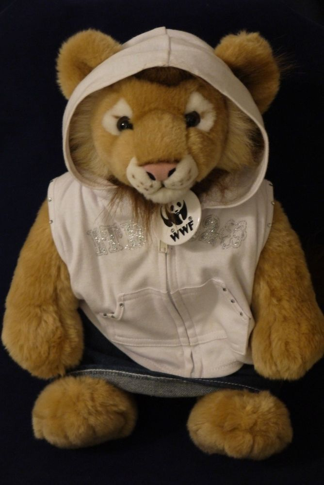 "WWF Lion 2003 Build A Bear~14"" Sitting Plush with WWF Plastic Tag +3 Pc Outfit #WorldWildlife #AllOccasion"