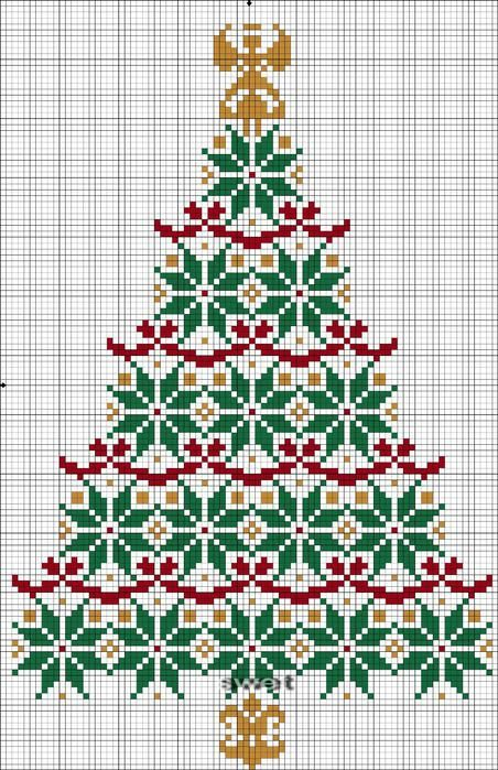 noël - christmas - sapin - point de croix - cross stitch - Blog : http://broderiemimie44.canalblog.com/