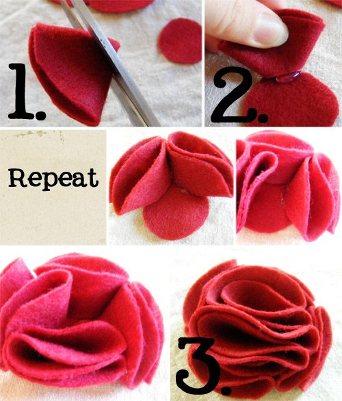 How to make felt flowers: Crafts Ideas, Felt Bloom, Felt Flowers Tutorials, Felt Crafts, Diy Felt, Diy Tutorials, Felt Diy, Handmade Flowers, Fabrics Flowers