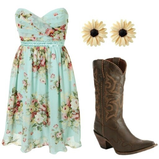country sundress with cowboy boots and sunflower earrings
