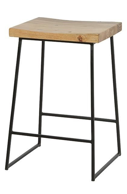 Shelter Rectangular Barstool In Natural Acacia/ Black #globewest #furniture  #barstool #style