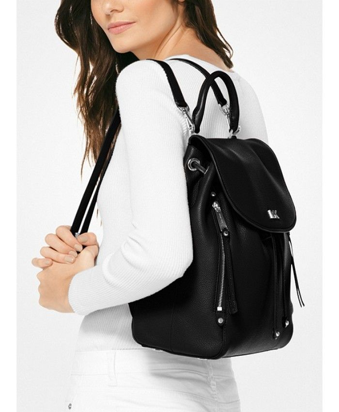 44f6bc24e08b6f Michael Kors Evie Medium Leather Backpack Black | Mk bags in 2019 ...
