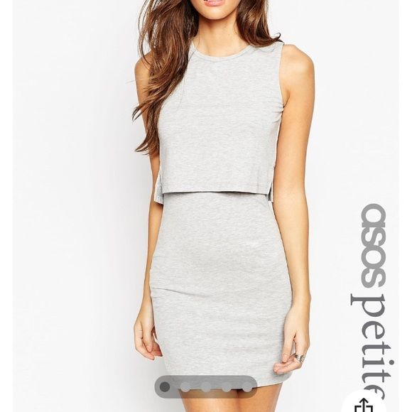 NWT ASOS petite grey dress  Crop top style grey dress. Perfect for a dinner date or night on the town. Brand new from Asos. Red dress only shown for more photos. Dress is grey. ASOS Dresses Mini
