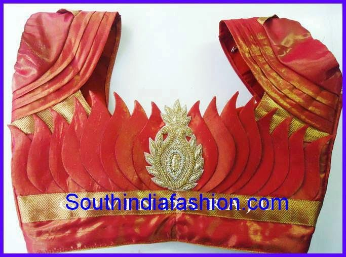 lotus back neck blouse designs for silk sarees