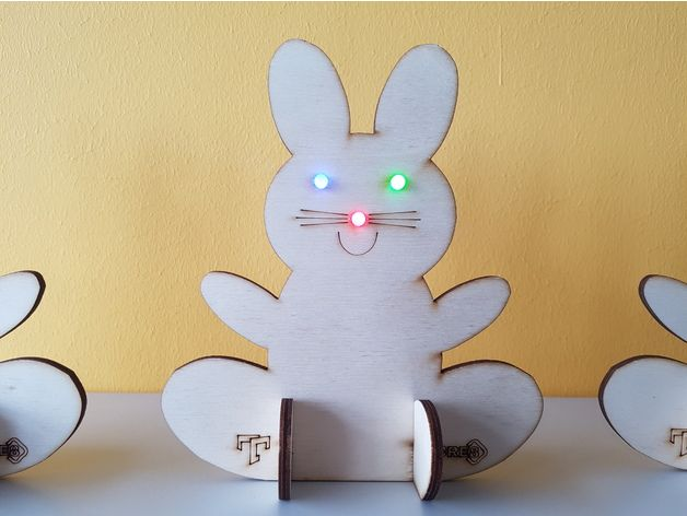 This is a simple EasterBunny to cut out from 4mm plywood. The nose and the eyes are designed to hold 5mm LEDs.