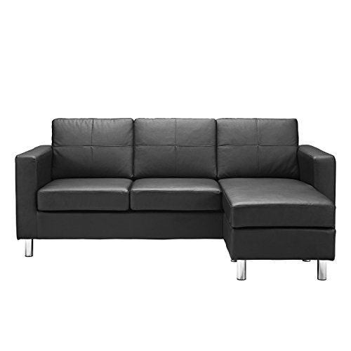 Awesome Modern Bonded Leather Sectional Sofa Small Space Configurable Couch Black For Sale s Picture - best reclining sofa reviews Inspirational
