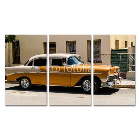Tryptyk obraz trzyczęściowy na płótnie - Amerykański samochód - w pełnym kolorze #fedkolor #obrazzezdjęcia #poliptyk #tryptyk #obraznapłótnie #sztuka #art #fotografia #twojezdjęcie #dekoracja #ozdoba #naścianę #dodomu #dopokoju #dosalonu #samochody #samochód #car #żółty #diy