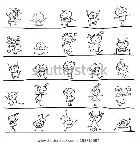 hand drawing cartoon character happy kids playing