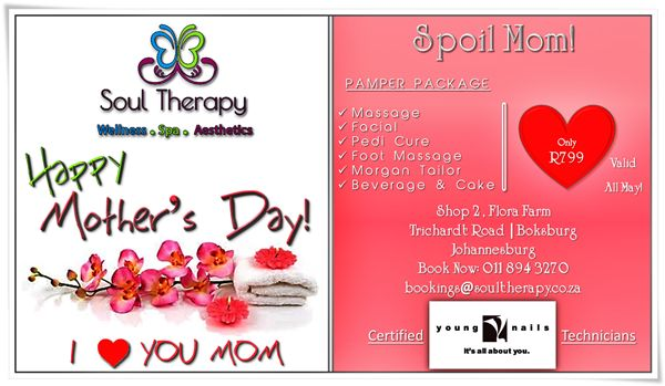 #mother'sday #spa #wellness #beauty #southerly www.soultherapy.co.za