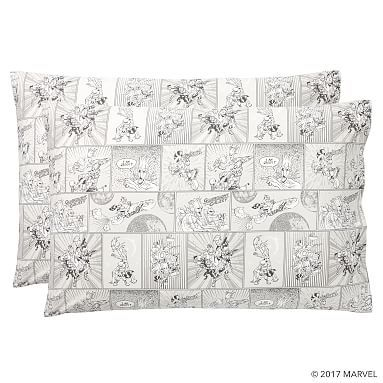 Guardians of the Galaxy Comic Strip Pillowcase, Set of 2, Gray Multi