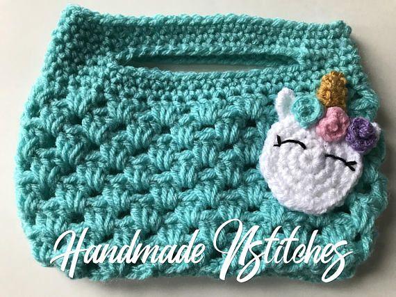 Unicorn purse kid purse crochet purse turquoise purse