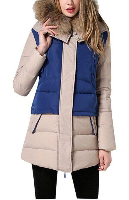 Vogstyle Donna Pumino Cappotti Contrasto di Colore Inverno Blu L