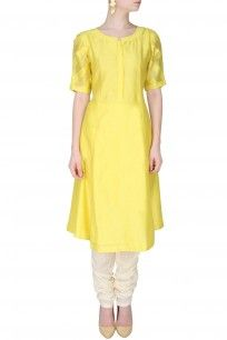 Yellow Long Kurta With Rumpled Up Striped Sleeves shopnow #newcollection #contemporary #slohdesigns #happyshopping #kurta #clothing