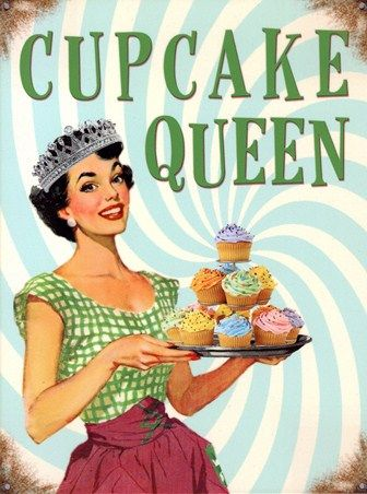Food and Drink Tin Sign: If you are the queen of your kitchen then you will love this deliciously retro tin sign which features a proud housewife as they stands with her tray of freshly bakes cupcakes. Against a hypnotic background, you will soon be lured in by these tiers of treats with all their brightly coloured toppings. With 'Cupcake Queen' splashed across the top and distressed corners, this tin sign is the perfect finishing touch to your kitchen of creative cooking.